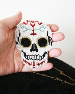 Collier tête de mort mexicaine, collier gothique, collier perles, bijou rock, alternatif, calavera, jour des morts