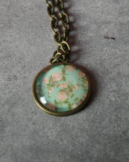 Collier rétro roses, collier fleur, collier nature, collier vintage, bijou rétro, bijou vintage, bijou roses, bijou pin-up