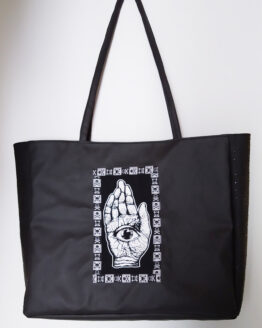 Sac cabas noir, sac boho witch, sac vegan, sac rock, sac sorcière, sac alternatif, sac original
