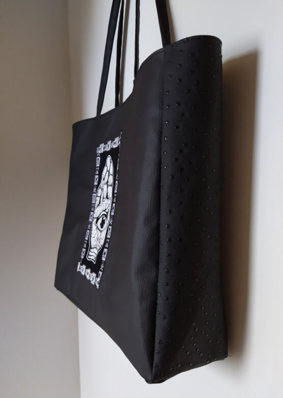 Sac cabas noir, sac boho witch, sac vegan, sac rock, sac sorcière, sac alternatif, sac original