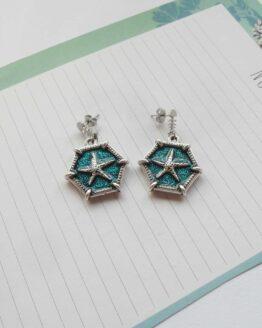 Bouces d'oreilles étoile de mer, coquillage, marin, bijou marin, bijou étoile , océan , starfish