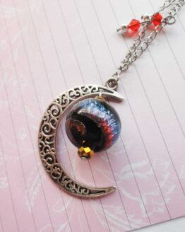 Collier lune, collier swarovski, collier witchy, bijou lune, bijou coloré