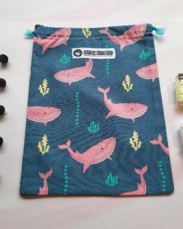 Sac à vrac baleine, sac zéro déchet, sac réutilisable, pochon baleine, baleine rose, sac marin, sac a vrac marin, pochon marin, sac course, sac écologique, sac fruit et legume