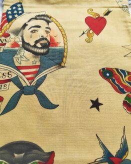 sac à vrac marin, sac vrac marin, marin, sailor, oldschool tattoo, retro, pin-up, sac tattoo, sac zéro déchet, sac courses, sac épicerie, sac sailor, course zéro déchet, courses écologiques, pochon marin, pochon sailor