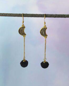 Boucles d'oreilles lune, witchy, sorcière, bijou lune, pompon noir, astral, ciel, féminin