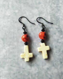 Boucles d'oreilles croix et têtes de mort, boucles d'oreilles rock, bijou rock, bijou goth