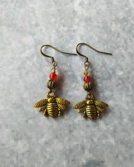 Boucles d'oreilles abeilles dorées, nature, vegan, animaux, campagne