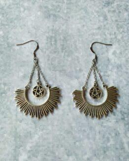 Boucles d'oreilles gothique, étoile de satan, bijou rock, bijou gothique bijou métal