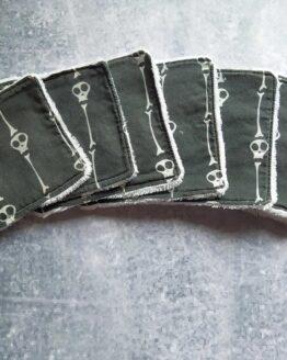 Lingettes demaquillantes lavables gothiques tetes de mort en coton