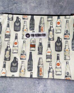 Pochette bière, pochette rétro, pochette vintage, trousse vintage, trouse rétro, trousse bière, trousse à maquillage, trousse sac