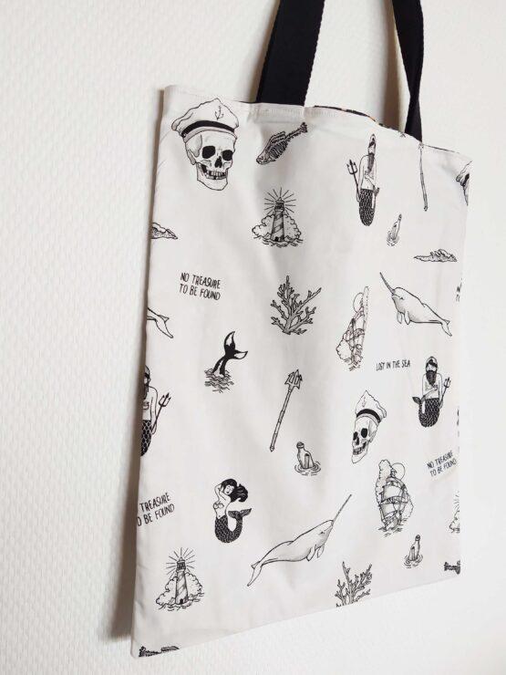 Sac marin, tote bag marin, sac fourre-tout pirate, sac sirène, mermaid, tote bag sirène