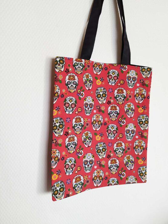 tote bag tête de mort, sac tête de mort, sac skull, tote bag skull, sac rock, tote bag rock, sac crane mexicaine