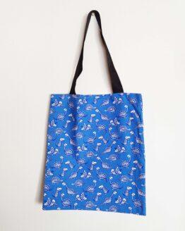Tote bag dinosaure bleu, squelette dinosaure, sac dinosaures, sac rock, sac original, tote bag original, sac halloween
