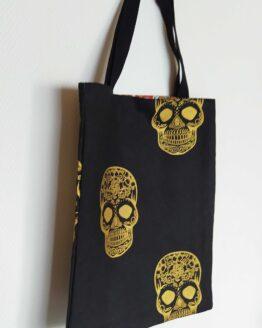 Tote bag calavera, tête de mort mexicaine, crane mexicaine, sac rock, tote bag rock, tote bag skull, sac skull