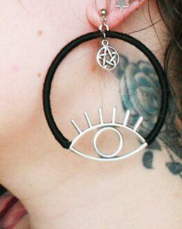 Boucles d'oreilles oeil, créoles, witchy, gothique, alternatif