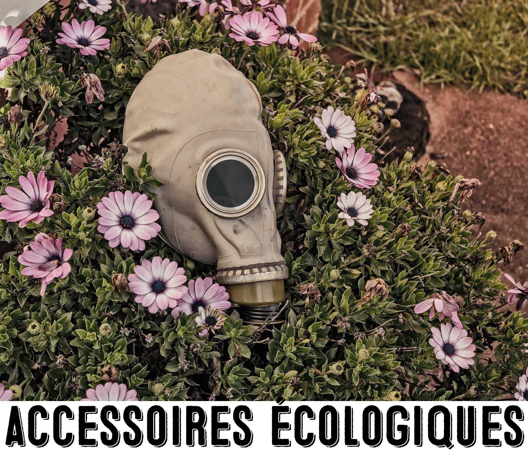 Masque à gaz au milieu des fleurs pour représenter la catégorie accessoires écologiques