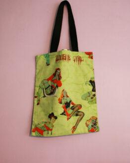 Sac tote bag zombie girl, sac rock, sac halloween, sac horror, sac pin-up, tote bag rock