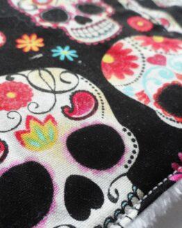 Lingettes réutilisables écologiques skull, lingettes démaquillantes lavables crânes mexicains rock