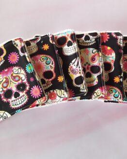 Lingettes lavables tetes de mort mexicaines en bambou