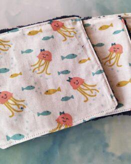 Lingettes lavables animaux marin pour peau sensible