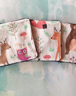 Lingettes lavables animaux de la foret pour enfant