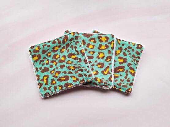 Lingettes reutilisables leopard bleu en bambou