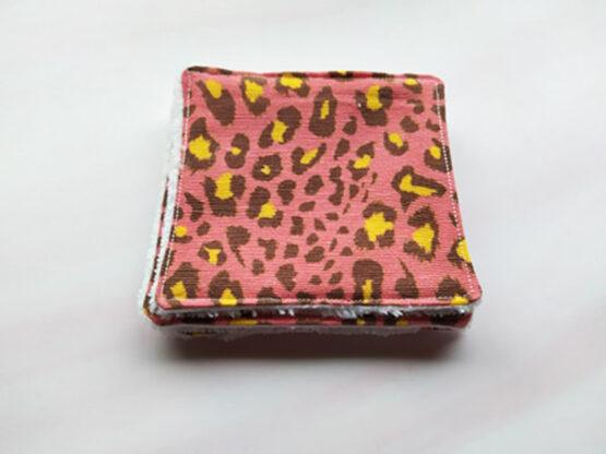 Lingettes lavables léopard rose en bambou