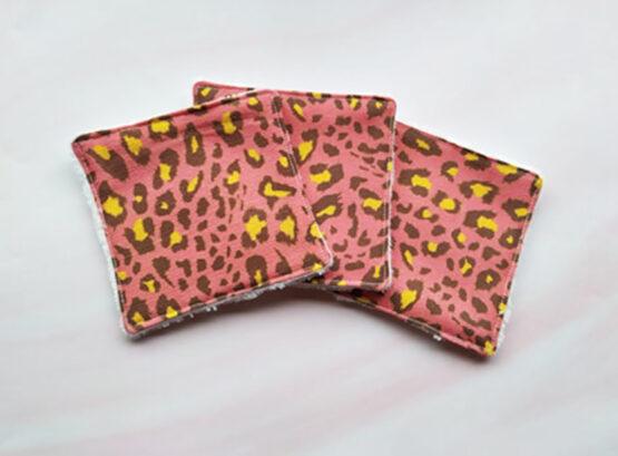 Lingettes lavables rock léopard rose