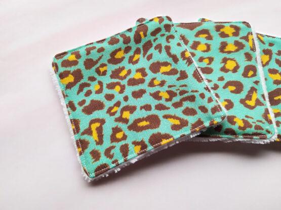 Lingettes lavables zero dechet leopard bleu