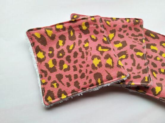 Cotons démaquillants réutilisables léopard rose, zéro déchet
