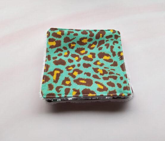 Cotons demaquillant lavables rock leopard bleu