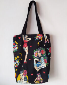 tote bag rock, tote bag rockabilly, sac rock, sac rockabilly, sac tattoo, tote bag tattoo, captain petit pois, mode rock, mode alternative, mode rockabilly, sac alternatif, tote bag doublé , tote bag pin up , sac pin up