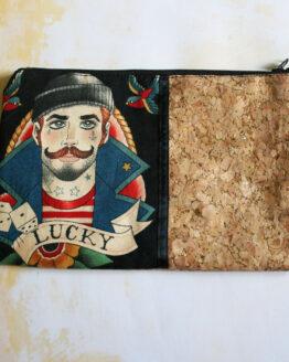 Pochette marin rockabilly en coton et en liège à paillettes