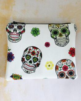 Porte-monnaie têtes de mort mexicaines, porte-monnaie rock