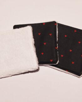 Lingettes lavables coeurs rouges zéro déchet