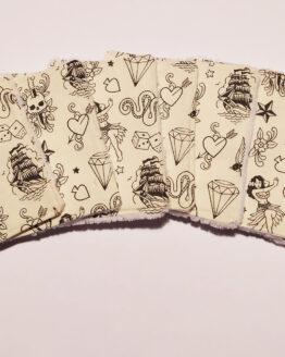 Lingettes démaquillantes lavables motifs tatouage