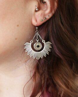 Boucles d'oreilles pendantes demi-cercles et rose des vents avec strass noir