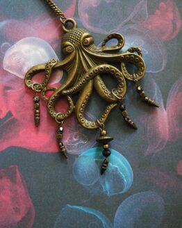 Collier pieuvre bronze et ses trésors, pendentif sur chaine, bijoux marin et rock'n'roll