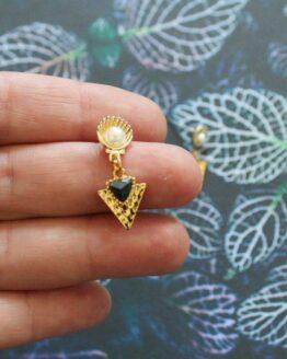 Boucles d'oreilles sirène avec des coquillages et des imitations pierre, bijoux fantaisie