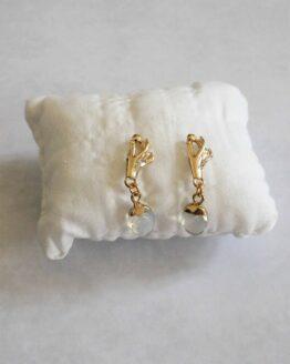 Boucles d'oreilles pendantes main dorée et pierre gemme, boucles d'oreilles féminine
