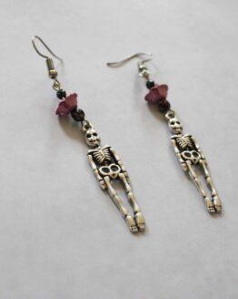 Boucles d'oreilles squelettes, bijoux halloween, bijoux gothique