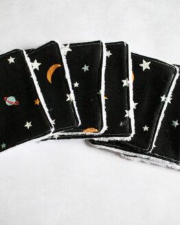 Lingettes démaquillantes lavables lune et étoiles, cotons démaquillants espace