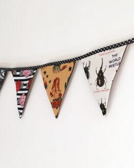 Guirlande fanions rockabilly en tissu pour une décoration originale et fait main